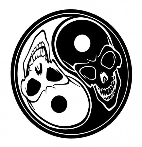 Czaszki Yin Yang Symbol Tatuaż Wektor Darmowe Pobieranie
