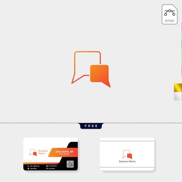 Czat mówić logo i szablon projektu wizytówki Premium Wektorów