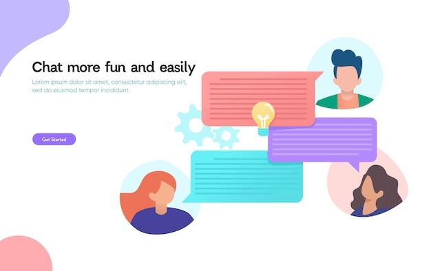 Czat Online, Koncepcja Projektowania Ilustracji Wektorowych, Qna, Ludzie Używają Smartfona Do Czatowania W Mediach Społecznościowych, Wiadomości Błyskawicznych Premium Wektorów