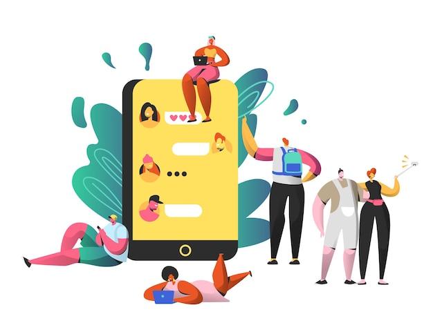 Czat W Sieci Społecznościowej Na Dużym Smartfonie. Mężczyzna I Kobieta Razem Robią Selfie. Premium Wektorów