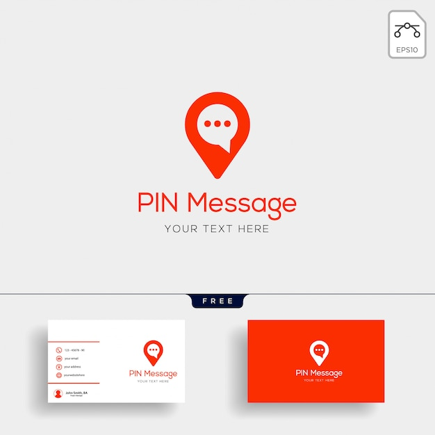 Czat, wiadomość, mowa, szablon logo rozmowy z wizytówki Premium Wektorów