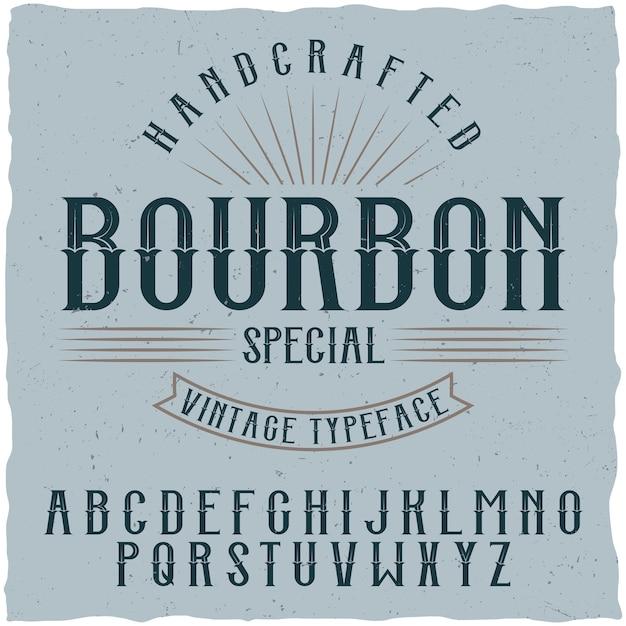 Czcionka Etykiety Bourbon I Przykładowy Projekt Etykiety Darmowych Wektorów