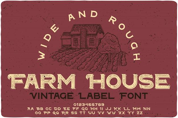 Czcionka Etykiety Vintage Farm House Premium Wektorów