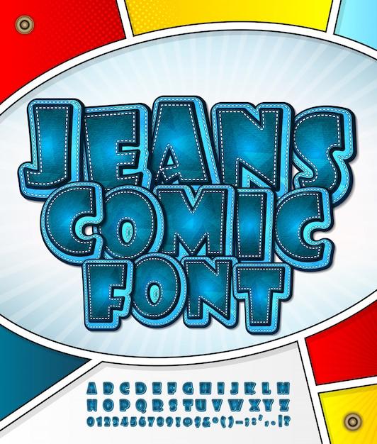 Czcionka jeansowa kreskówka Premium Wektorów