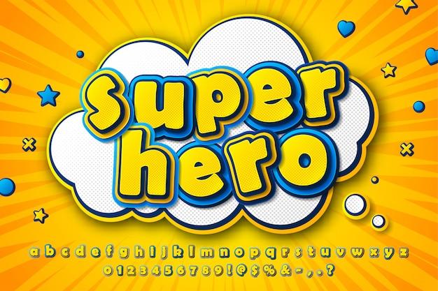 Czcionka komiksowa, dziecięcy alfabet kreskówkowy z żółto-niebieskich liter Premium Wektorów