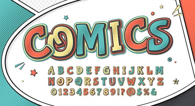 Czcionka komiksu. cartoonish retro alfabet na stronie komiksu Premium Wektorów