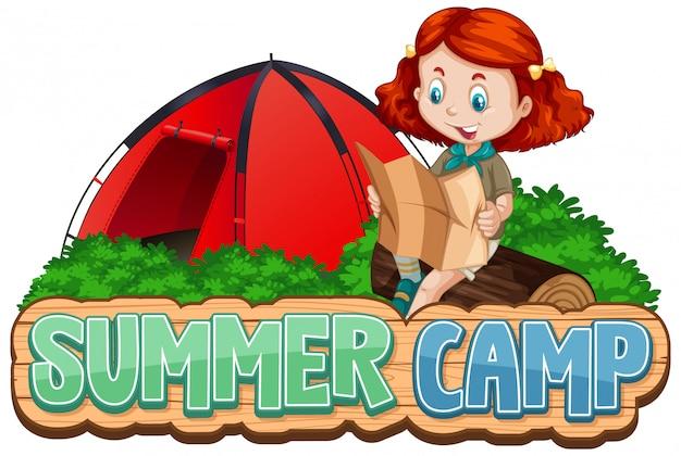 Czcionka Na Obóz Letni Z Uroczym Dzieckiem W Parku Darmowych Wektorów