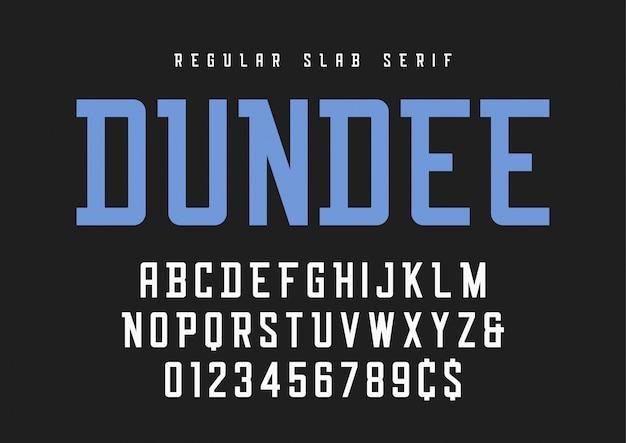 Czcionka Szeryfowa Zwykłej Płyty Dundee, Krój Pisma, Alfabet. Premium Wektorów