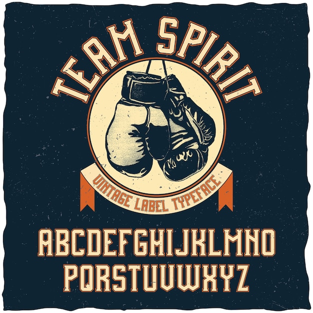 Czcionka Team Spirit W Stylu Retro Darmowych Wektorów