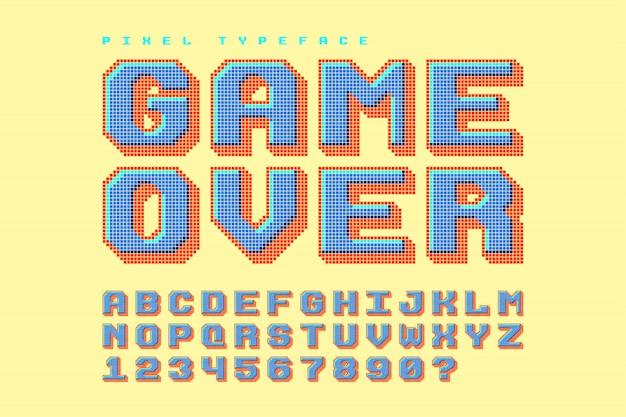 Czcionka wektorowa pikseli, stylizowana jak w grach 8-bitowych Premium Wektorów