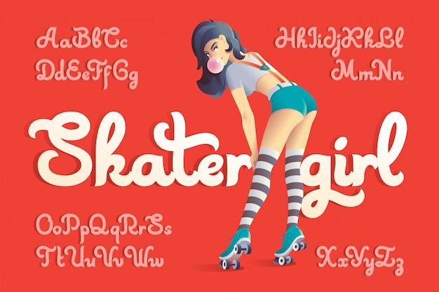 Czcionka Wektorowa Zestaw Z Ilustracji Skater Dziewczyna Darmowych Wektorów