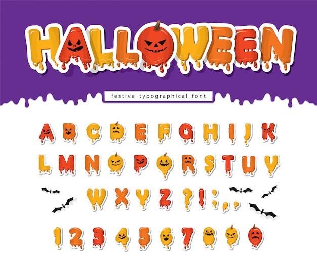 Czcionka z dyni halloween. alfabet upiorny przerażające twarze. Premium Wektorów