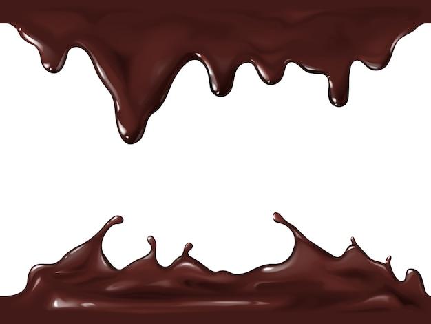 Czekolada bez szwu ilustracja realistyczny 3d splash i przepływ krople ciemnej lub mlecznej czekolady Darmowych Wektorów