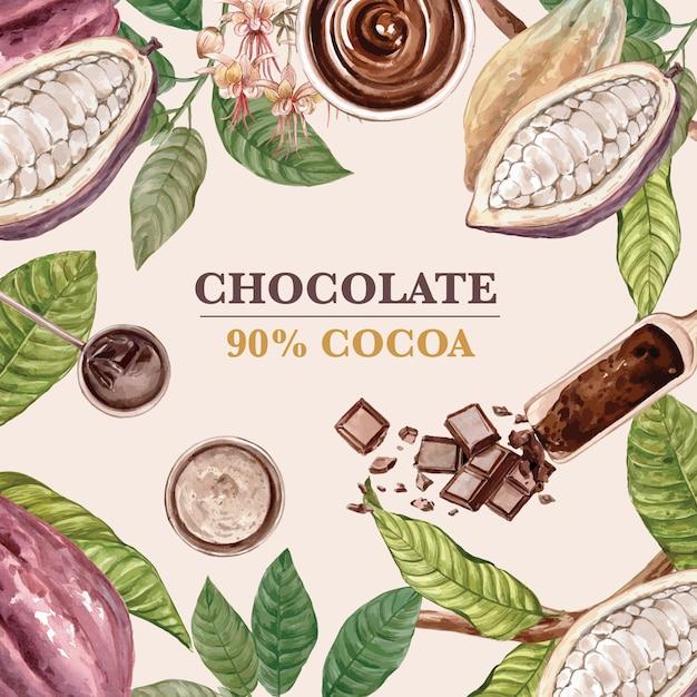 Czekolada kakao gałąź drzewa akwarela z czekolady, ilustracja Darmowych Wektorów