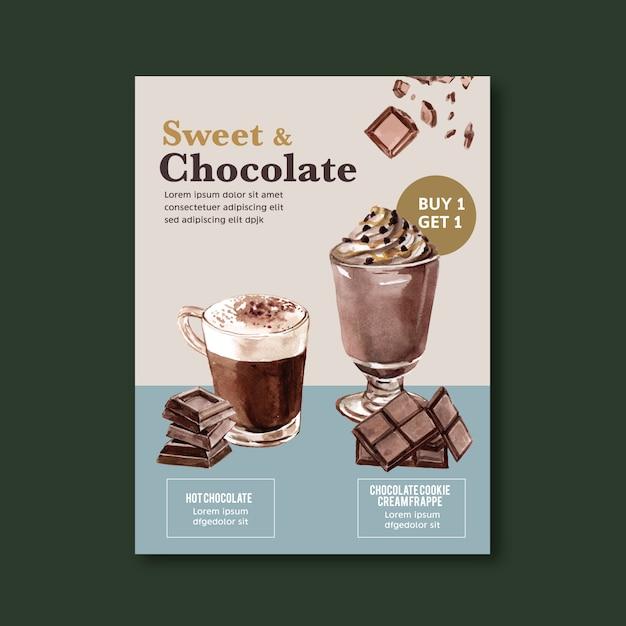 Czekolada plakat z frappe napój czekoladowy, ilustracja akwarela Darmowych Wektorów