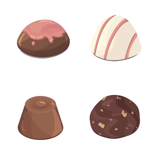 Czekoladowe Cukierki Kolorowe Na Białym Tle Zestaw Ilustracji. Premium Wektorów