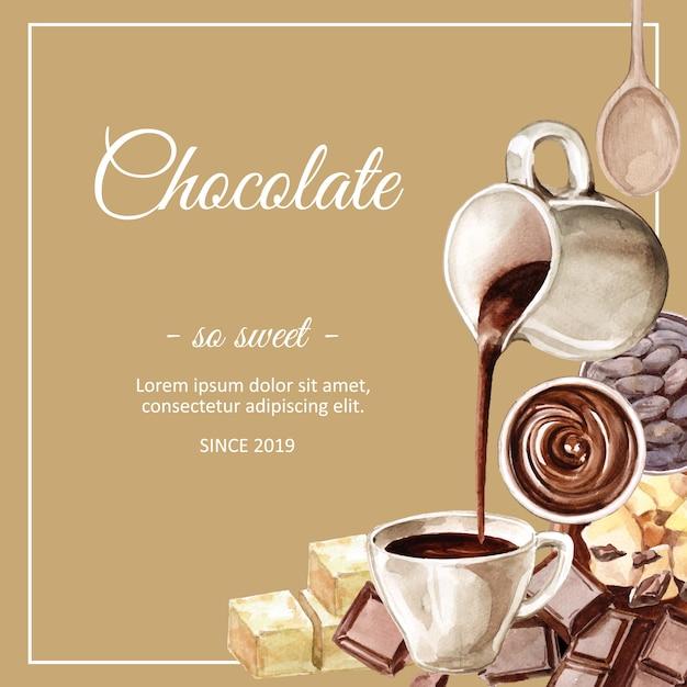 Czekoladowe składniki akwarela, co ilustracja czekoladowy napój cacoa i masła Darmowych Wektorów