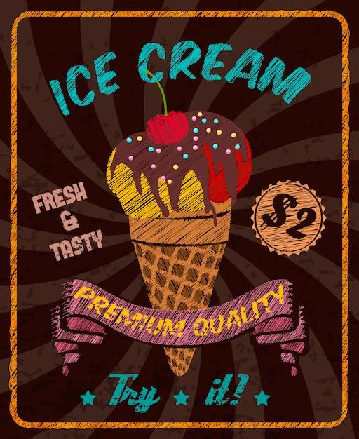 Czekoladowe smaczne lody z polewą z wiśniowej czekolady w stożkowym waflu Premium Wektorów