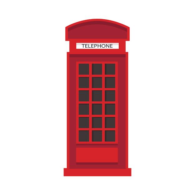 Czerwona Angielska Budka Telefoniczna W Stylu Płaskiej. Ikona Telefonu Na Białym Tle. Premium Wektorów