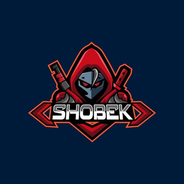 Czerwona bluza z kapturem snajper e sport logo maskotka Premium Wektorów