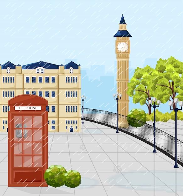 Czerwona Budka Telefoniczna W Londynie Premium Wektorów