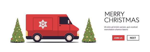 Czerwona Ciężarówka Dostarczająca Prezenty Wesołych świąt Szczęśliwego Nowego Roku święta Uroczystości Koncepcja Ekspresowej Dostawy Kopia Przestrzeń Pozioma Ilustracji Wektorowych Premium Wektorów