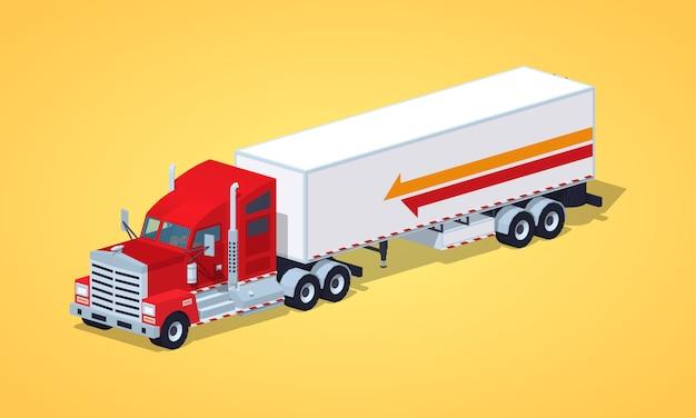 Czerwona ciężka amerykańska ciężarówka z przyczepą Premium Wektorów