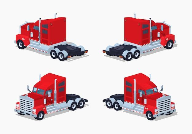 Czerwona Ciężka Izometryczna Ciężarówka 3d Premium Wektorów
