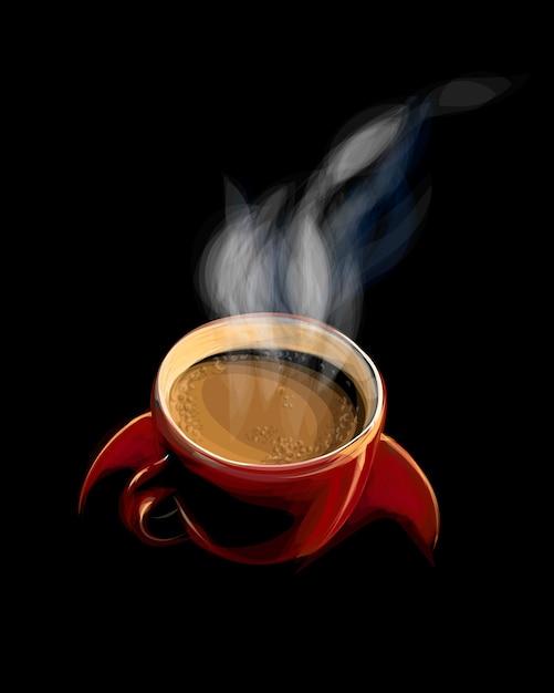 Czerwona Filiżanka Kawy Z Dymem Na Czarnym Tle. Ilustracja Farb Premium Wektorów
