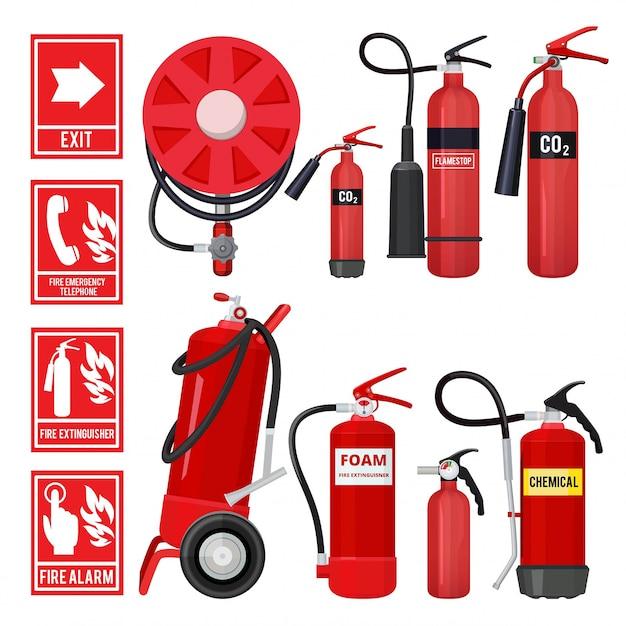 Czerwona gaśnica, narzędzia strażackie do ochrony przeciwpożarowej różnych typów gaśnic Premium Wektorów