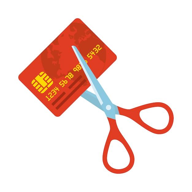 Czerwona karta kredytowa tnąca nożyczkami Premium Wektorów