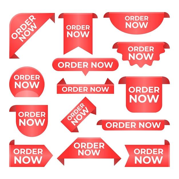 Czerwona Kolekcja Zamówienia Teraz Etykieta Premium Wektorów