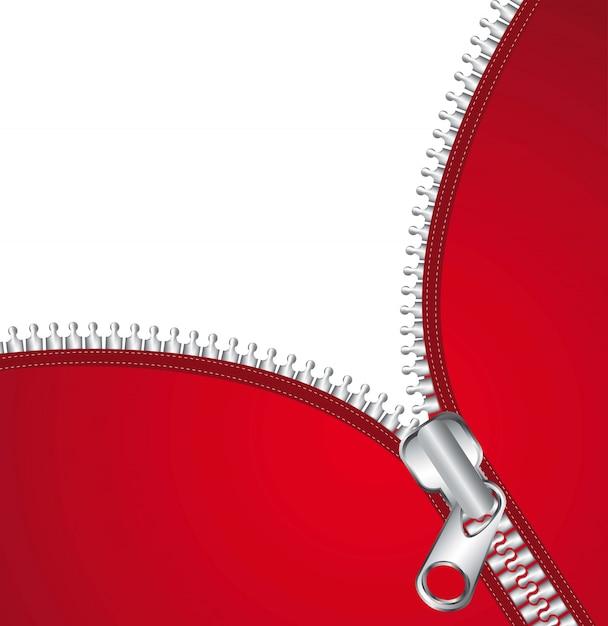 Czerwona Kurtka Z Metalicznym Suwakiem I Miejsca Na Kopię Ilustracji Wektorowych Premium Wektorów