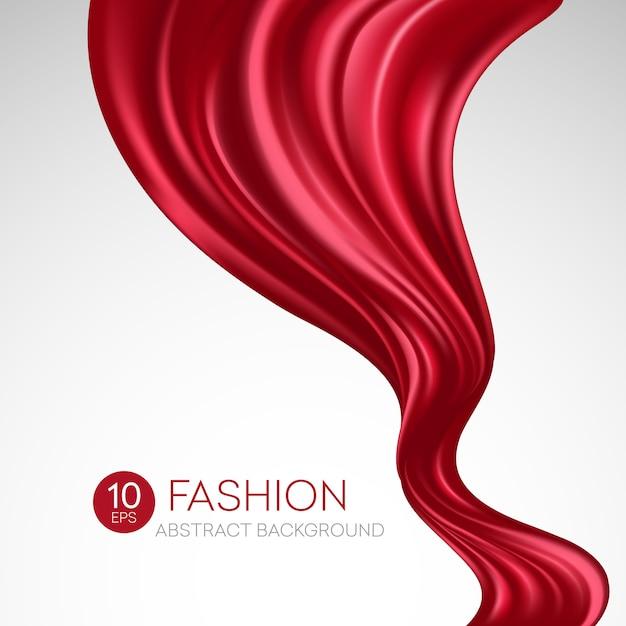 Czerwona Latająca Tkanina Jedwabna. Fashibackground Premium Wektorów