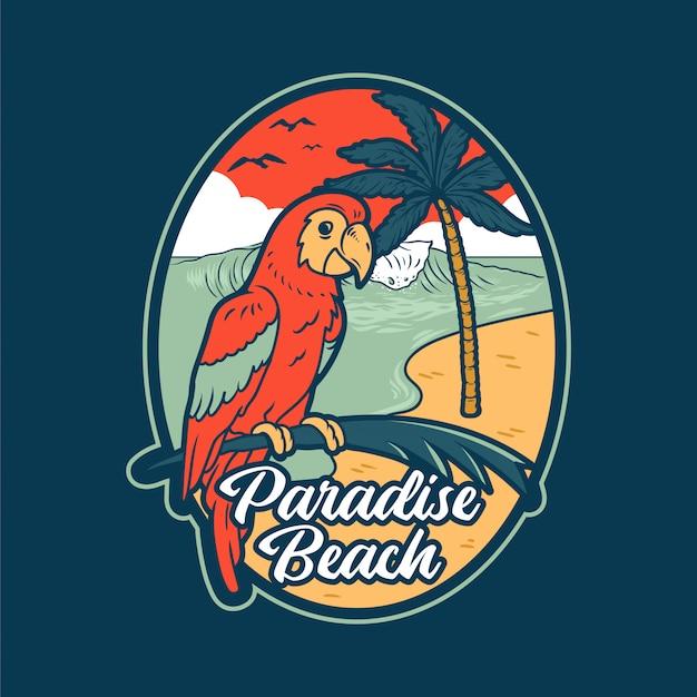 Czerwona Letnia Papuga W Tropikalnej Dżungli W Pobliżu Rajskiej Plaży Z Dużą Falą Oceanu Morskiego I Palmami. Premium Wektorów