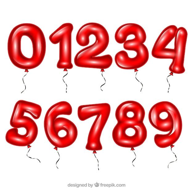 Czerwona Liczba Kolekcji Jako Balony Darmowych Wektorów