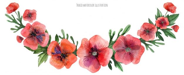 Czerwona poppy gala garland Premium Wektorów