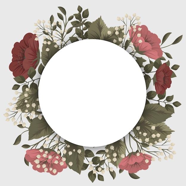 Czerwona ramka w kwiaty - czerwone i białe kwiaty Darmowych Wektorów