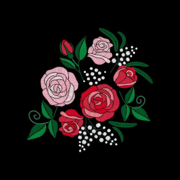 Czerwona Róża I Białe Kwiaty Haftu Na Czarnym Tle. Imitacja ściegu Satynowego Premium Wektorów