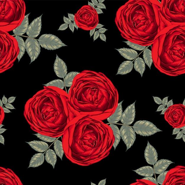 Czerwona Róża Kwiaty Szwu Premium Wektorów