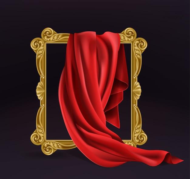 Czerwona Tkanina Jedwabna Zakrywająca Drewnianą Ramkę Na Zdjęcia Darmowych Wektorów
