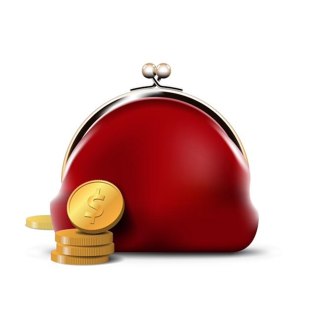 Czerwona Torebka Ze Złotymi Monetami Premium Wektorów