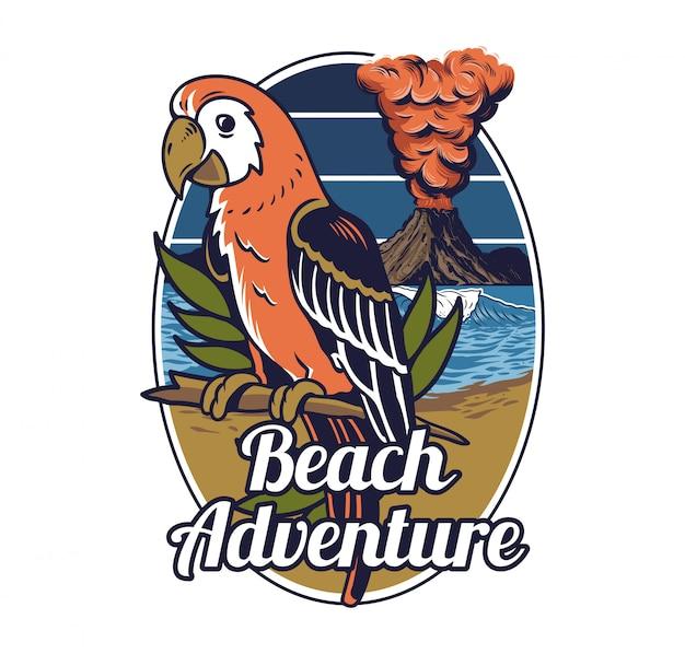 Czerwona Tropikalna Egzotyczna Dzika Papuga Ptasia Hawaje Lato Plaża Z Falą Oceanu I Duży Aktywny Wulkan Premium Wektorów