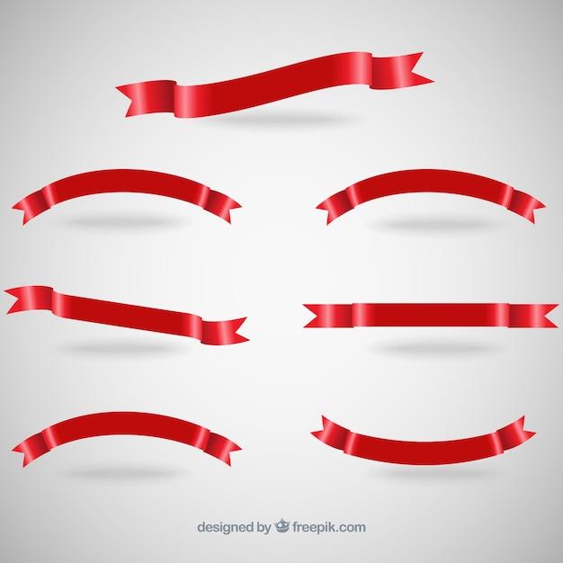 Czerwona Wstążka Banery Darmowych Wektorów