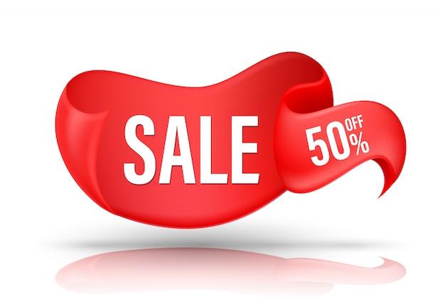 Czerwona Wstążka Z Ofertą Promocyjną Zniżki Na Tekst Sprzedaży Premium Wektorów