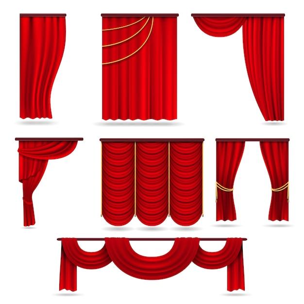 Czerwone aksamitne zasłony sceniczne Premium Wektorów
