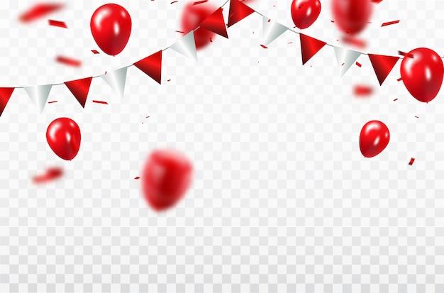 Czerwone balony, szablon projektu koncepcji konfetti happy valentine's day Premium Wektorów