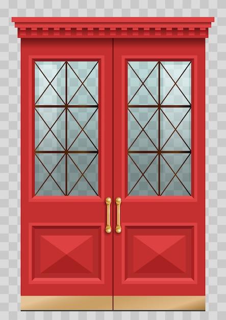 Czerwone drzwi vintage Premium Wektorów