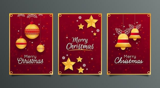 Czerwone I Złote Kartki świąteczne Premium Wektorów