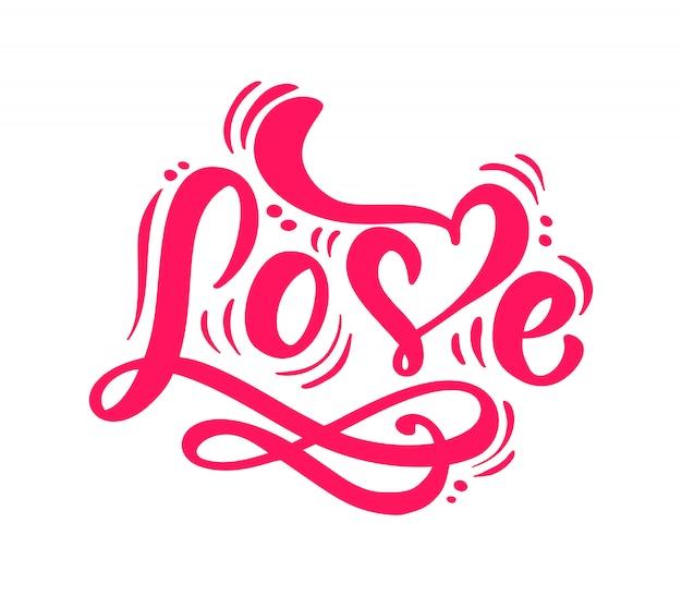 Czerwone kaligrafia słowo miłość napis Premium Wektorów